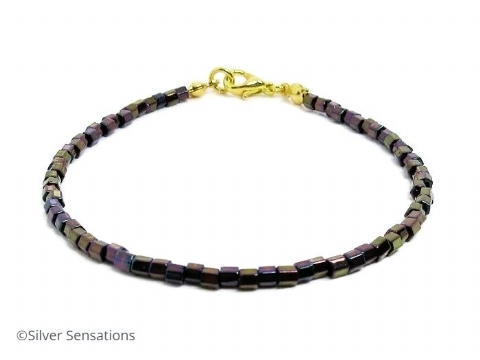 Purple Rainbow Hexagon Seed Bead Layering Friendship Bracelet